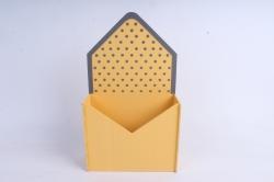 """Кашпо """"Конверт"""" средний, с горошком МДФ-3мм, 1шт., окраш. желтый-серый ПУ348-02-1620"""