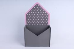 """Кашпо """"Конверт"""" средний, с горошком МДФ-3мм, 1шт.,окраш. серый-розовый ПУ348-02-2005"""