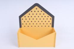 """Кашпо """"Конверт"""" малый, с горошком МДФ-3мм, 1 шт., окраш. желтый-серый  ПУ347-02-1620"""