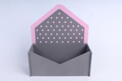 """Кашпо """"Конверт"""" малый, с горошком  МДФ-3мм, 1 шт., окраш. серый-розовый  ПУ347-02-2005"""