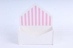 """Кашпо """"Конверт"""" малый, с полоской  МДФ-3мм, 1 шт., окраш. белый-розовый  ПУ350-02-0305"""