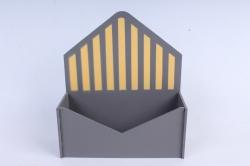 """Кашпо """"Конверт"""" малый, с полоской МДФ-3мм, 1 шт., окраш. серый-желтый  ПУ350-02-2016"""