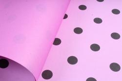 """Набор бумаги плотной, 10 листов 50*70см """"Горох"""" розовый/черный  1375"""