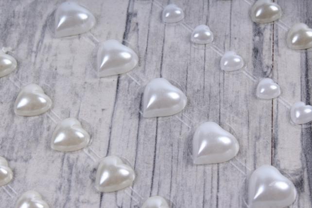 Стразы  Сердца белые, кремовые 5-10мм 52шт  DZ559W  2871