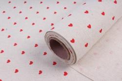 Лен с рисунком 48см*5ярд красные сердца