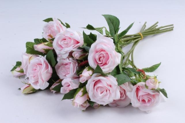 Искусственное растение - Ветка Розы 35см светло-розовый (12 шт в уп) SUN452