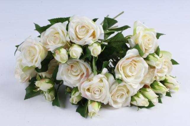 Искусственное растение - Ветка Розы 35см шампань (12 шт в уп) SUN452