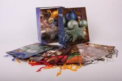 Подарочные пакеты - Сумки с блестками Новый Год (18*23*10) (12 шт/уп) Микс  Цена за упаковку 18*23/20/5
