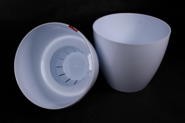 Цветочный (А) горшок Деко Твин (пластик), , 2,5л, белый  3308