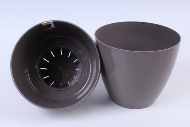 Цветочный (А) горшок Деко Твин (пластик),  2,5л, серый  2295