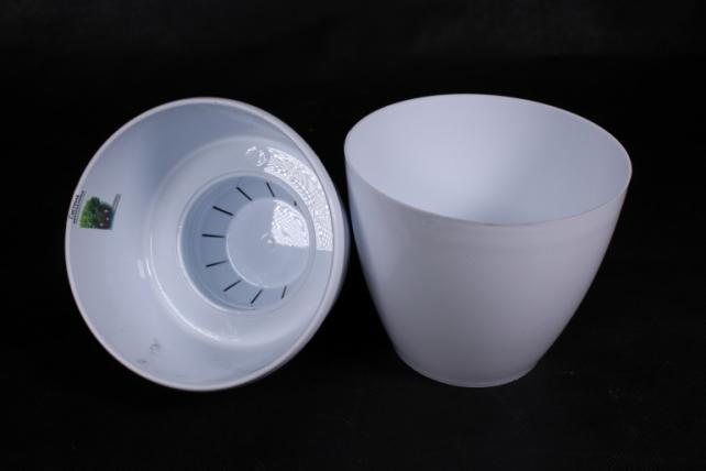 Цветочный (А) горшок Деко Твин (пластик),  1,5л, белый  3292