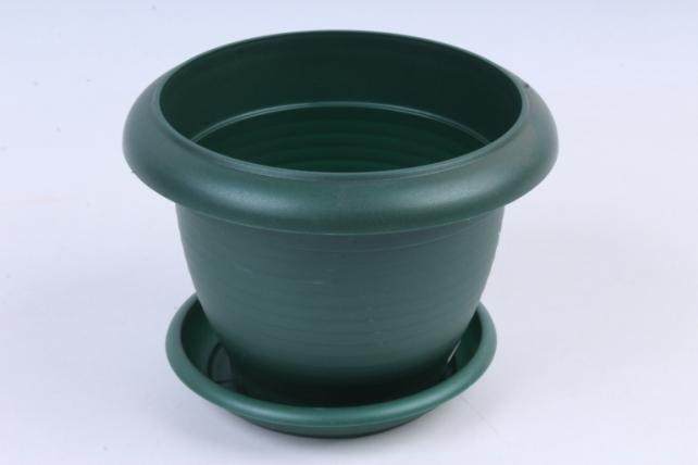 Кашпо (А) с поддоном Терра (пластик), 1л, зеленый  5494