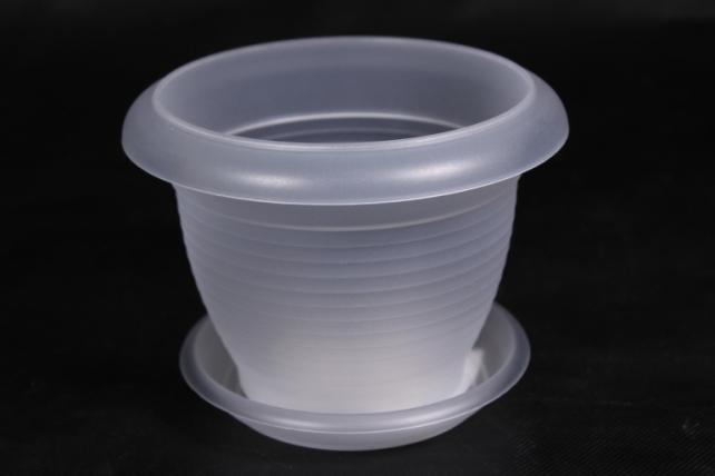 Кашпо (А) с поддоном Терра (пластик),  1л, прозрачный  2331