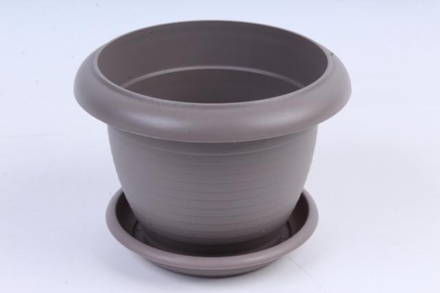 Кашпо (А) с поддоном Терра (пластик),  1л, серый  5517