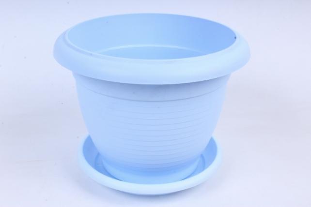 Кашпо (А) с поддоном Терра (пластик),  2,3л, голубой  5562