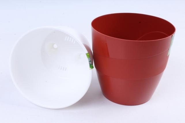 Кашпо (А) Грация  со вставкой (пластик),  1,2л, терракотовый  3094