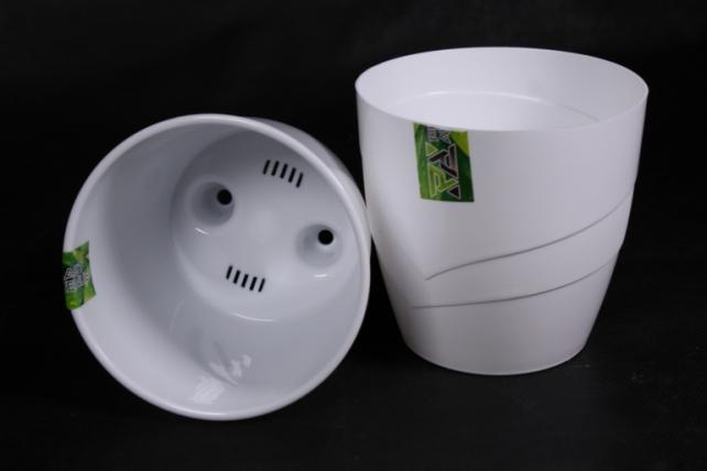 Кашпо (А) Грация со вставкой (пластик),  1,2л, белый  3063