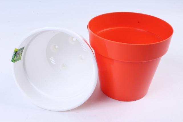 Кашпо (А) Порто со вставкой (пластик),  1л, оранжевый  2431