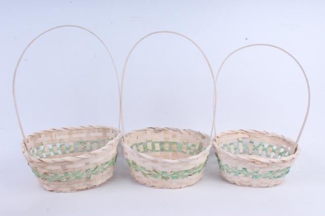 Набор корзин плетеных овал из 3 шт (бамбук)      зеленая   5555