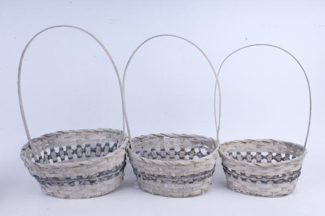 Набор корзин плетеных овал из 3шт  (бамбук)      серый   5553