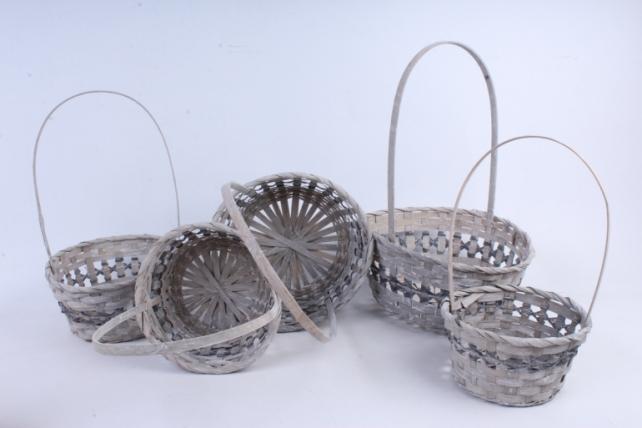 Корзина плетеная круг серая (бамбук) набор из 5шт- 5550