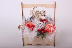 Мыло Новогодняя композиция в ящике ручная работа h=20см