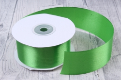 Лента атласная гладкая, односторонняя, 38мм х 25м (зеленый 1072)  8940, К