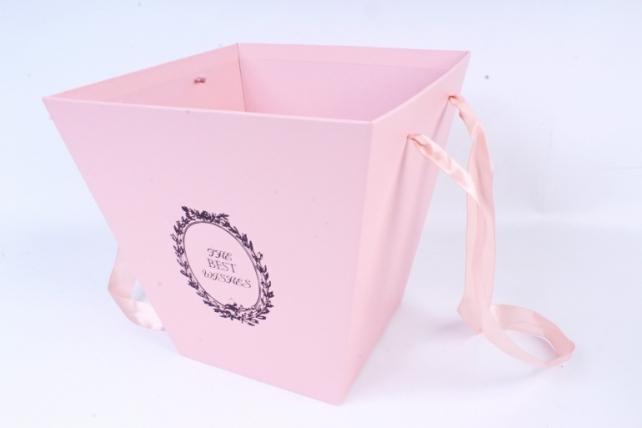 Кашпо-Коробка подарочная с ручками  розовый 6882 (Н)