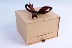 Подарочная коробка одиночная - Шкатулка с ящиком и бантом крафт