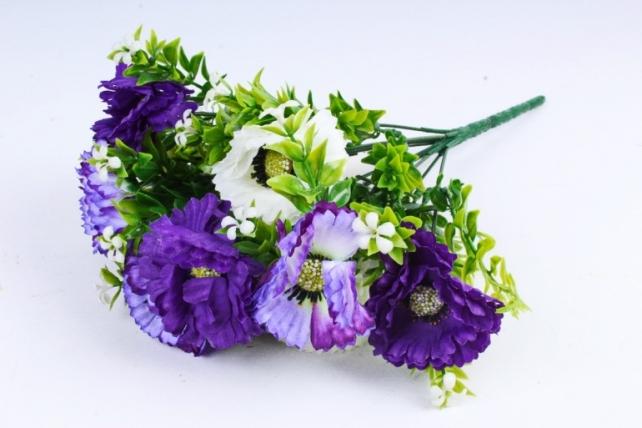 Искусственное растение - Гацания с гипсофилой сиренево-белая