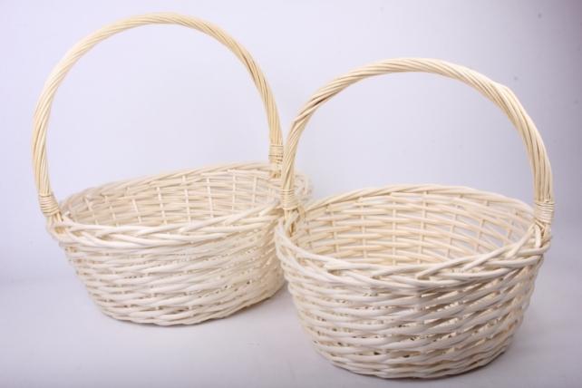 Набор плетеных корзин из 2шт-(ива) Круг Белый  КС-310