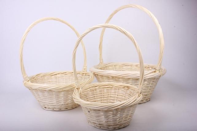 Набор плетеных корзин из 3шт-(ива)  Круг натуральный КС-63