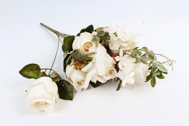 Искусственное растение - Роза с гортензией  кремовая