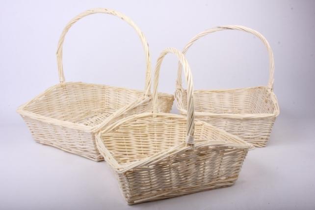 Набор плетеных корзин из 3шт-(ива) Прямоугольник натуральный  КС-024