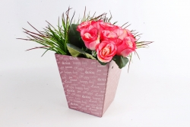 """Кашпо-коробка для цветов трапеция """"Happy day"""" пудра"""