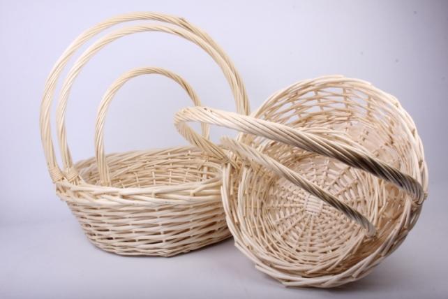 Набор плетеных корзин из 5шт-(ива) Круг Белый КС-310