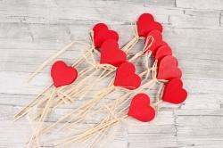 Вставка Сердце 5см красное  28см (12шт в уп)  2013ZL-017ABC