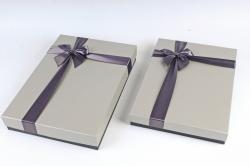 Набор подарочных коробок из 2шт -Прямоугольник под рубашку черно/серый    К465