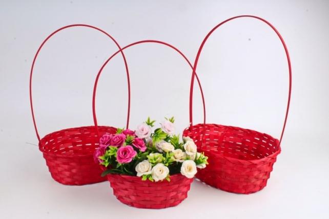 Набор корзин плетеных (бамбук)из 3шт -   красный 0860 (М)