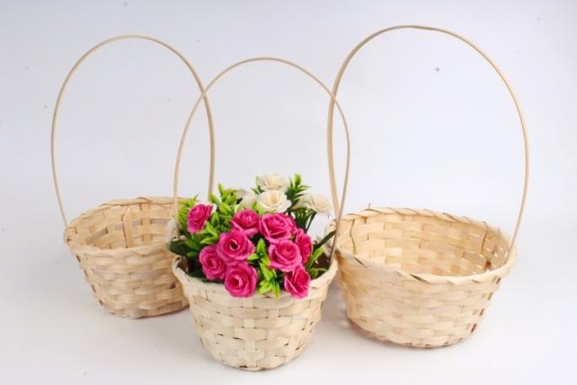 Набор корзин плетеных (бамбук) из 3шт -   натуральный 0778 (М)