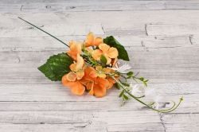 Веточка гортензии с декором оранжевая  LIU 287