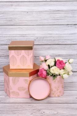 """Набор подарочных коробок из 3шт - Шестигранник микс""""Пушинка, лист, перо"""" 22.5x20x15cm  розовый 9725Н"""