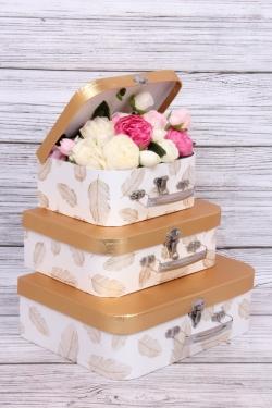 """Набор подарочных коробок из 3шт - Сундук """"Перо"""" 30.2x21.9x9.5cm белый 9695Н"""