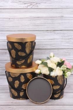 """Набор подарочных коробок из 3шт - Цилиндр """"Перо"""" d=19.8x19.3cm розовый 9763Н"""