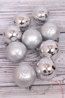 Шары новогодние в коробке ЛЮКС  d=8см (9шт в уп) серебро