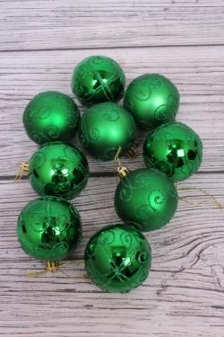 Шары новогодние в коробке ЛЮКС  d=8см (9шт в уп) зеленый