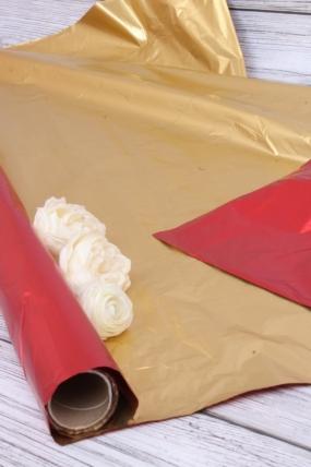 Полисилк (1м*20м) в рулоне Золото/Красный