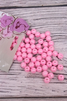 Бусины  10мм  Круглые Ярко розовые (50гр)  K10PRB