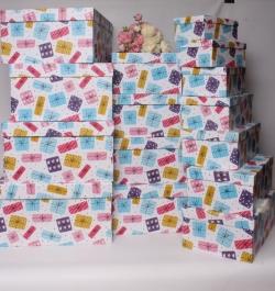 Набор подарочных коробок из 15шт - Прямоугольник подарки цветные  52*40*23  К555