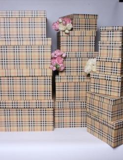 Набор подарочных коробок из 15шт - Прямоугольник шотландка  52*40*23  К245